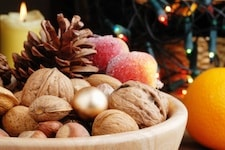 nuts, oramge and xmas lights