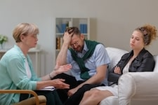Unhappy couple in therapy