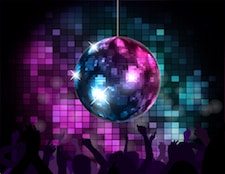 Disco ball in party atmosphere